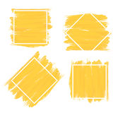 Set of banner in yellow brush paint style with white frame. Stock Photos