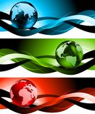 Set of banners. With globes Royalty Free Stock Image