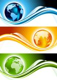 Set of banners. Qith globes Royalty Free Stock Photography