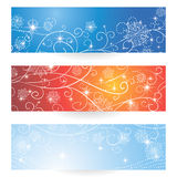 Set of banners. Winter Christmas banners collection with snowflakes and stars for site and blogs Vector Illustration