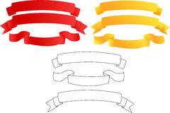 Set of banners. Banners from yellow, red and white fabric (on white Royalty Free Illustration