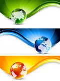 Set of banners. With globes Royalty Free Stock Images