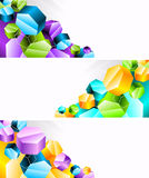 Set of banners with 3d hexagon Stock Photography