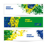 Set of banners abstract background, the colors of the Brazilian flag Stock Image