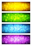 A set of banners with abstract flowers Stock Image