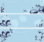 Set of banners with abstract flowers Stock Photos
