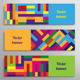 Set of  banners with abstract geometric. Colored shapes Stock Images