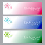 Set banners abstract headers three frame pink blue green Stock Photos