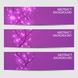 A set of banners. Abstract with wavy lines on a purple background.  Royalty Free Stock Photo