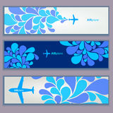 Set of banners. airplane background Royalty Free Stock Images