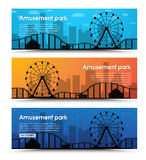 A set of banners for the amusement park. With a Ferris wheel and rides on the background of the city at night, at dusk and in the afternoon. Vector illustration stock illustration