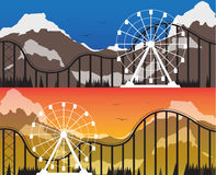 A set of banners for the amusement park. Templates of banners for the amusement park with a Ferris wheel and rides on a background of mountains at sunset and Stock Photography