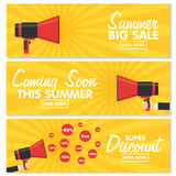 Set of banners. Announcement megaphone on vintage pop art background. Stock Photography