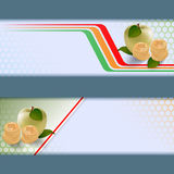 Set of banners with apples, roll of money on geometric design Royalty Free Stock Photo