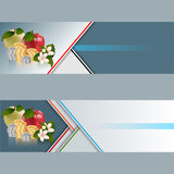 Set of banners with apples, roll of money, roll of money and flowers Stock Images