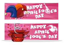 Set banners for April Fools Day. Happy April Fool`s Day. Set banners for April Fool`s Day with jack in the box toy, springing out of a box. April first design Royalty Free Stock Photography