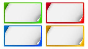 Set of banners, background for advertising and announcements. Blank sheets of paper with curled corners isolated. Horizontal billboards template with bend Stock Photography