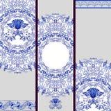 Set of banners or backgrounds based on ethnic painting on porcelain. Blue floral pattern. Vector illustration stock illustration