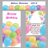 Set of banners with balloons. Multicolored balloons. Design for banners, postcards, business cards, web sites. Vector illustration Stock Image