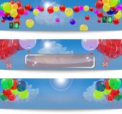 Set of banners with balloons. Stock Photo
