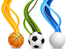 Set of banners with balls Stock Photos