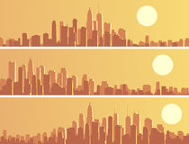 Set of banners with big city at sunset. Royalty Free Stock Photos