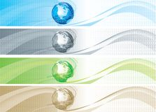 Set of banners with binary code and globe Royalty Free Stock Photography