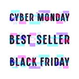 Set of banners for black friday, cyber monday, best seller. Design with glitch distortion effect Stock Images
