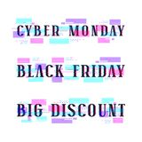 Set of banners for black friday, cyber monday, big discount. Design with glitch distortion effect Stock Image