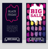 Set of banners for black friday sale with geometric design Stock Photos