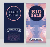 Set of banners for black friday sale with geometric design Stock Images