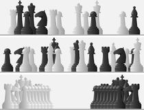 Set banners of black and white chess pieces. Stock Photos