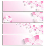 Set of banners with blossoming sakura pink Royalty Free Stock Photos