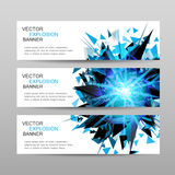 Set of banners.Blue abstract explosion banner. Design template.Blue glowing lights banner Stock Photography