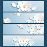 Set of banners blue with 3d flower sakura and leaf. Set of trendy stylish banners with white blossoming 3d flower sakura and leaf isolated. Beautiful modern Royalty Free Stock Images