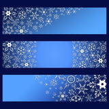 Set of banners blue with 3d white snowflakes. Set of stylish horizontal banners with 3d white snowflakes isolated. Christmas and New Year card. Beautiful trendy Royalty Free Stock Photography