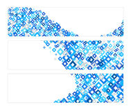 Set Of Banners With Blue Diamonds Texture Royalty Free Stock Photography