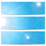 Set of banners with blue sky and sun Royalty Free Stock Photography