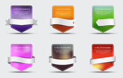 Set of banners with blurred background and ribbon Royalty Free Stock Images