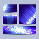 Banners with bokeh glowing background. Set of banners with bokeh glowing background, vector illustration Royalty Free Stock Photos
