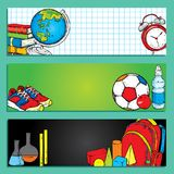 Set of banners or bookmarks back to school. Multicolored cartoon school supplies and stationery. royalty free illustration