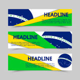 Set of banners in Brazil flag concept. Vector with lines in different colors. 2016 Summer sport. Olympic games banner. RIO, South America. Olympiad. Olimpic Stock Photos