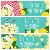 Set of banners with bright fruit water  jar with lemons Stock Image