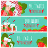 Set of banners with bright fruit water  jar with strawbe Stock Photography