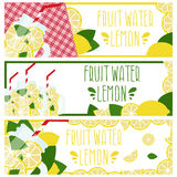 Set of banners with bright fruit water in mason jar with lemons Stock Images