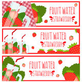 Set of banners  bright fruit water in mason jar with strawbe Stock Photo