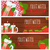 Set of banners  bright fruit water in mason jar with strawbe Royalty Free Stock Images