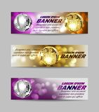 Set of banners bright mirror golden ball design for disco dance club. Vector royalty free illustration