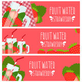 Set of banners with bright  water in mason jar with strawbe Royalty Free Stock Photos