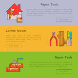 Set of banners - building tools Stock Images